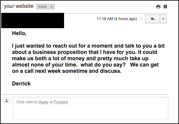 This is an example of emails I won't respond to.
